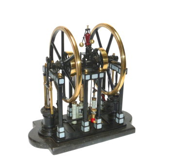 A fine model of a twin cylinder vertical steam pumping engine