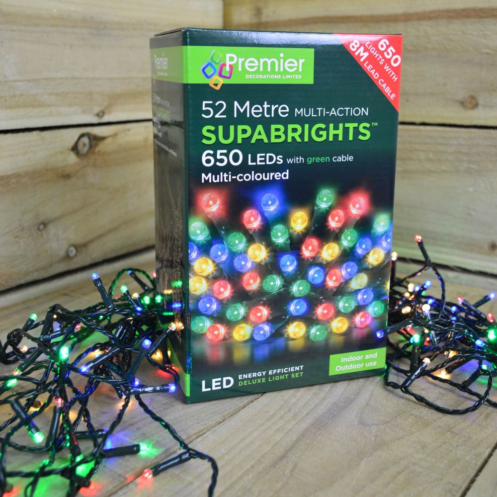 Premier 650  LED Multi-Action String Supabrights  Christmas Lights