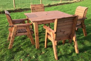 CHARLES TAYLOR TRADITIONAL GARDEN FURNITURE 4 SEAT SQUARE TABLE SET