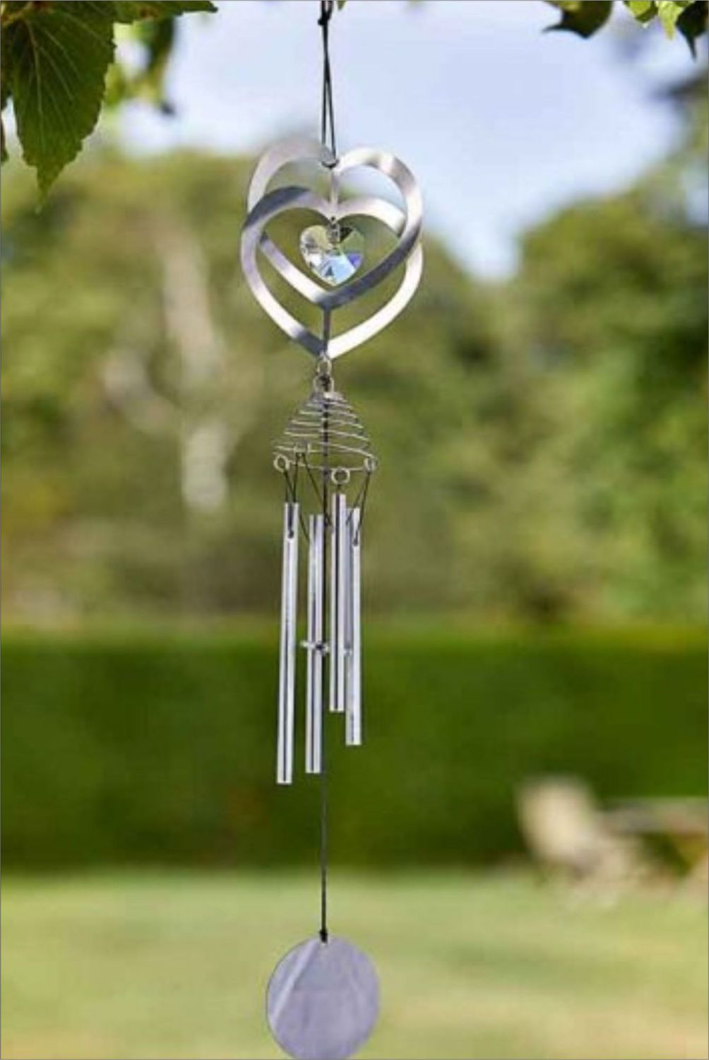 CRYSTAL HEART WINDCHIME