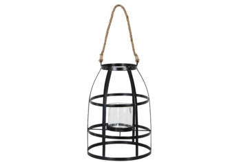LANTERN METAL BLACK WITH GLASS CANDLE HOLDER