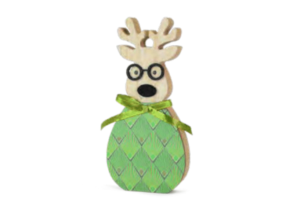 ELK WITH GLASSES GREEN SM