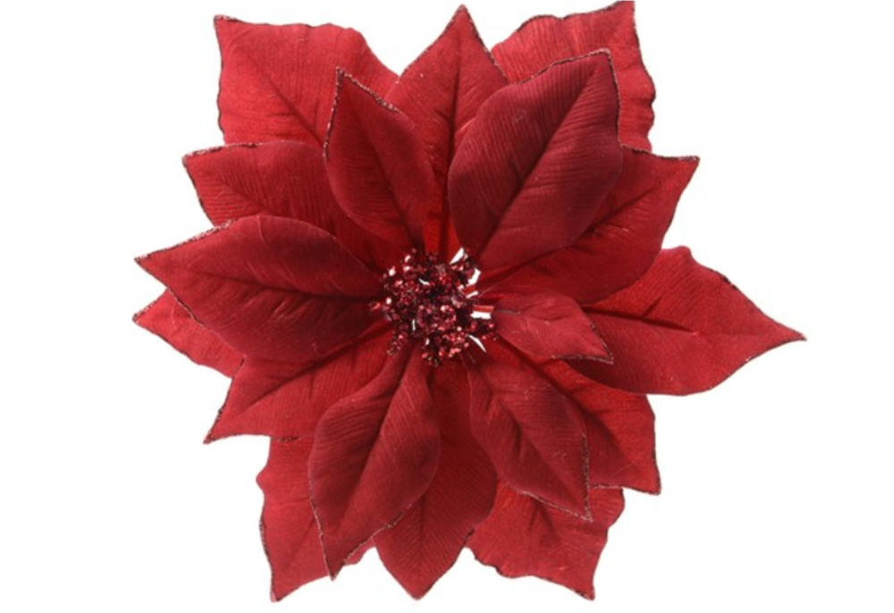POINSETTA RED ON CLIP