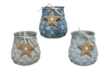 TEALIGHT HOLDER PINECONE WASHED GLASS