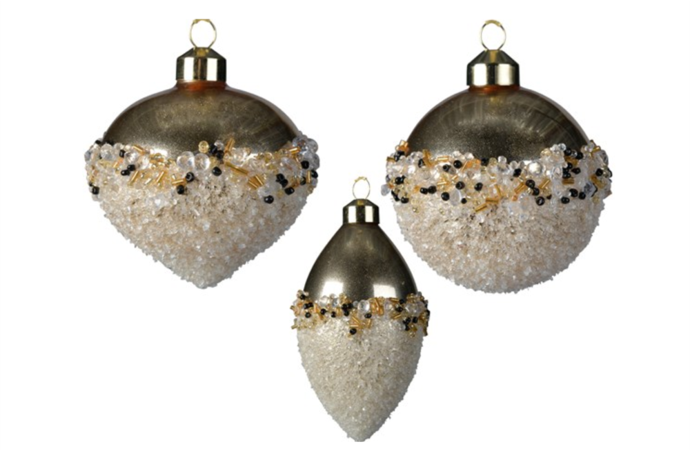 GOLD BAUBLE WITH SPARKLING FINISH