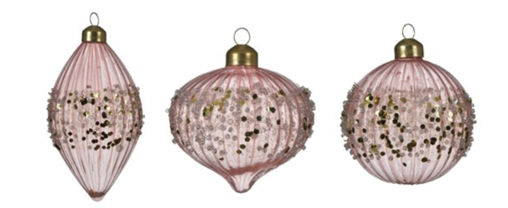 PINK BAUBLE WITH GLITTER BORDER