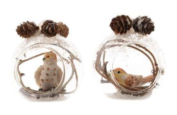 GLASS BAUBLE WITH BIRD INSIDE