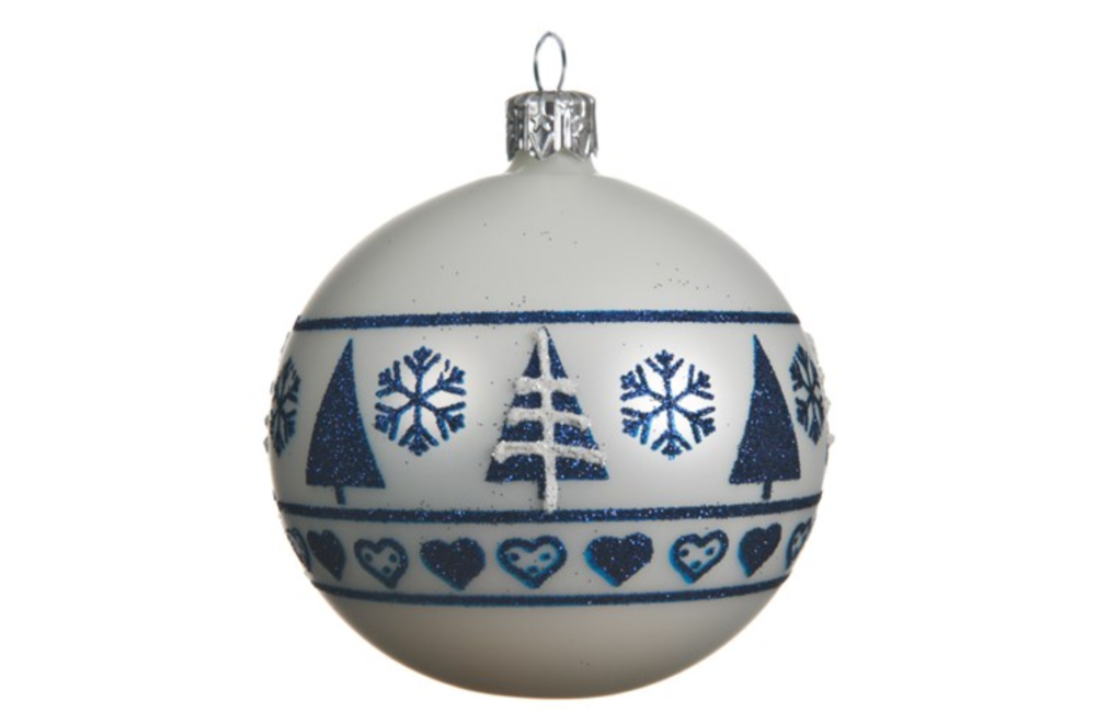 WHITE BAUBLE WITH NORDIC BORDER