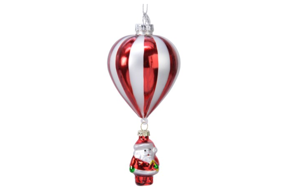 GLASS BALLOON WITH SANTA HANGING