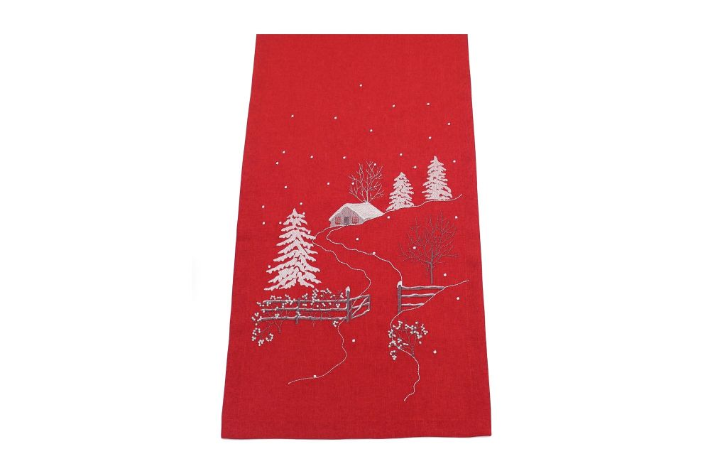 FROSTED VILLAGE TABLE RUNNER