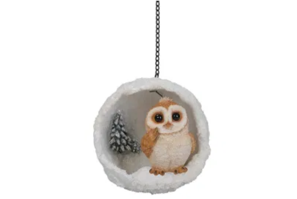 HANGING SNOWBALL MINI PLAYFUL BARN OWL