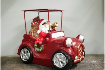 SANTA IN RED CAR with lights