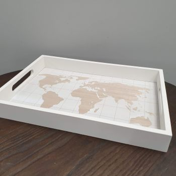 SERVING TRAY wood with world map
