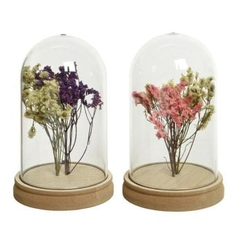Glass dome with dry flowers