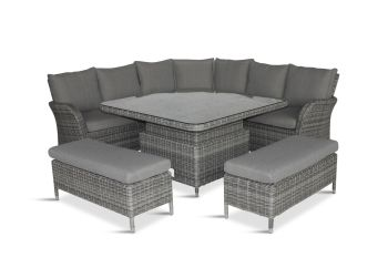 MONACO STONE  LARGE SQUARE DINING MODULAR with adjustable table