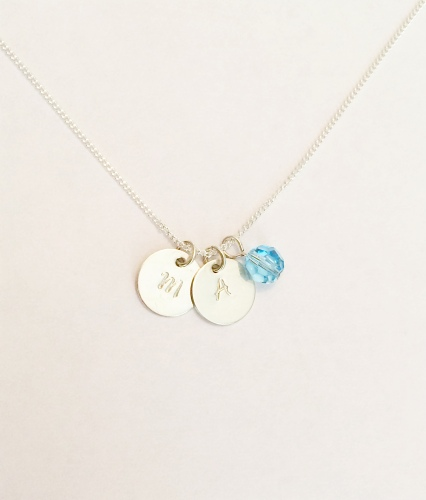 <!--002--> Sterling Silver & Swarovski Initial Necklace