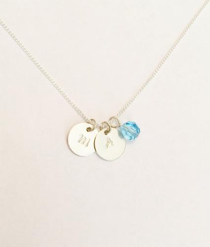 <!--002--> Sterling Silver & Swarovski Initial Necklace