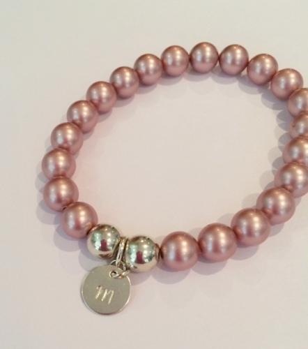 <!--003--> Swarovski Crystal Pearl & Sterling Silver Initial Bracelet