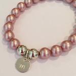 Swarovski Crystal Pearl & Sterling Silver Initial Bracelet