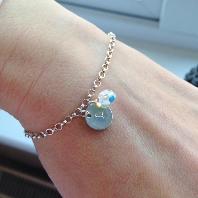 <!--004--> Sterling Silver & Swarovski Initial Bracelet