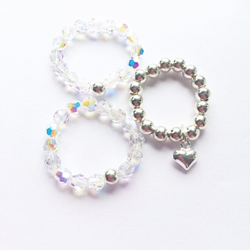 <!--001-->Sparkling Swarovski & Sterling Silver Rings (3 set Offer)