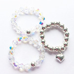 Sparkling Swarovski & Sterling Silver Rings (3 set Offer)