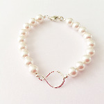 Sterling Silver & Swarovski Pearl Infinity Bracelet