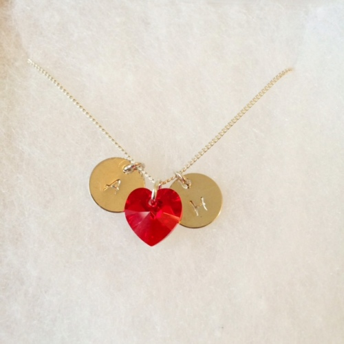 <!--008-->Personalised Stamped Initial Necklace (Red)