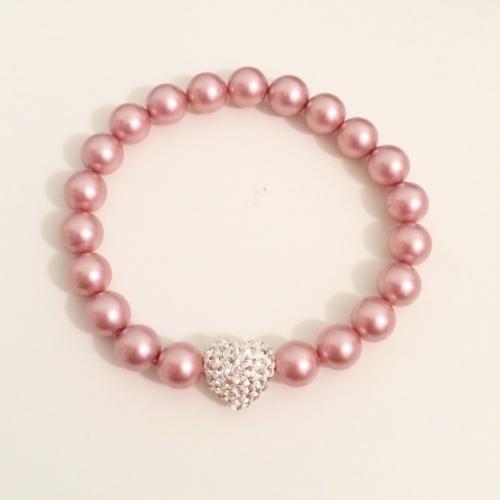 <!--009-->Swarovski Crystal Pearl Amore Bracelet (Pink)