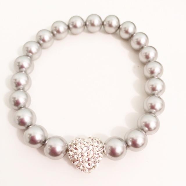 <!--010-->Swarovski Crystal Pearl Amore Bracelet (Light Grey)