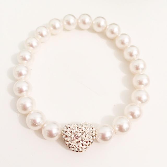 <!--010-->Swarovski Crystal Pearl Amore Bracelet (White)