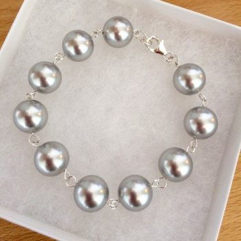 Light Grey Chunky Swarovski Pearl Bracelet
