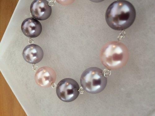 Tones Of Pink Chunky Swarovski Pearl Bracelet