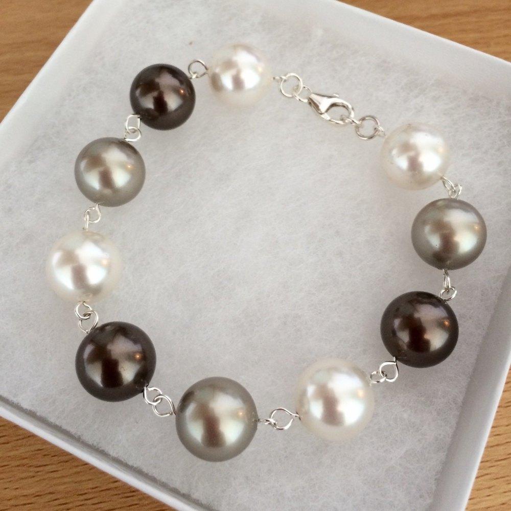 Tones of Earth Chunky Swarovski Pearl Bracelet
