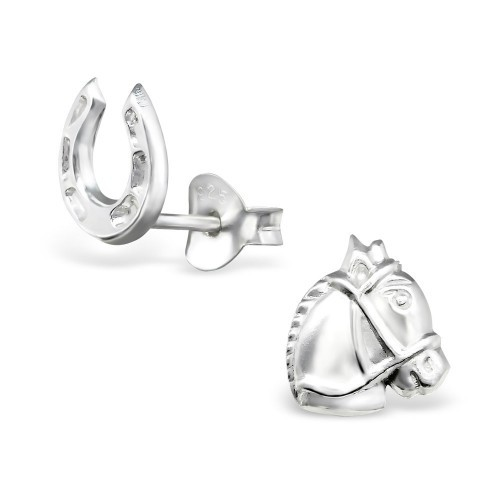 Sterliing Silver Horse & Shoe Earrings