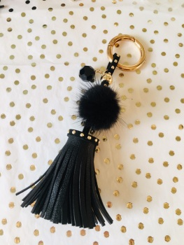 Black Tassel Keyring with Swarovski Sparkle