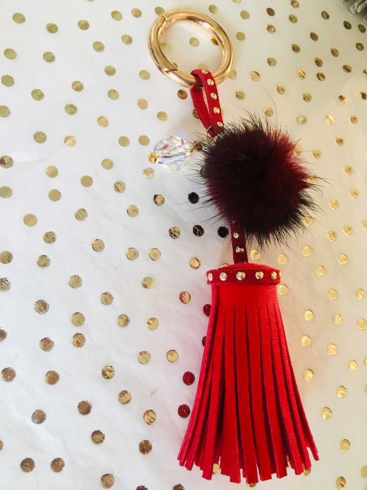 Red Tassel Keyring with Swarovski Sparkle