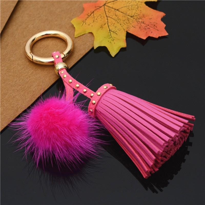 Pink Tassel Keyring (No Swarovski)