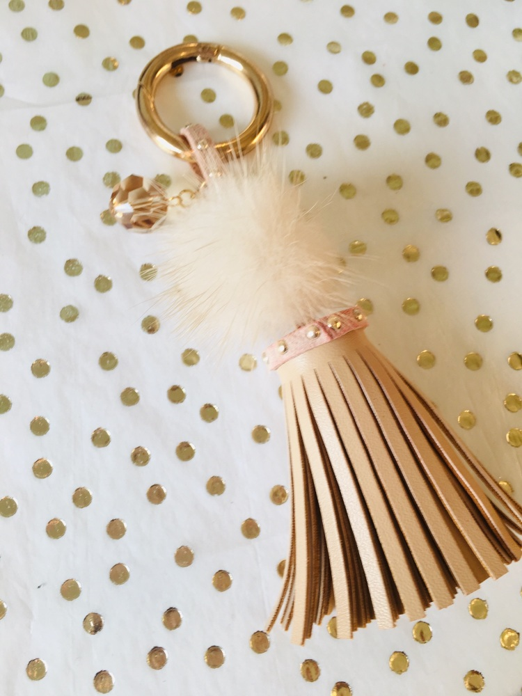 Natural Tassel Keyring With Swarovski Sparkle