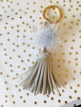 Grey Tassel Keyring with Swarovski Sparkle