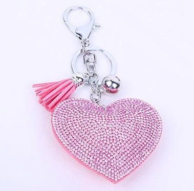 Pink Heart Keyring (No Swarovski)