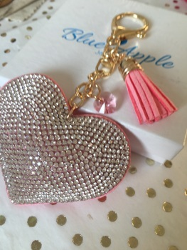 Pink Heart Keyring with Swarovski Sparkle
