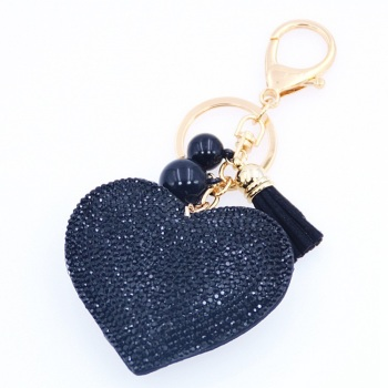 Black Heart Keyring (No Swarovski)