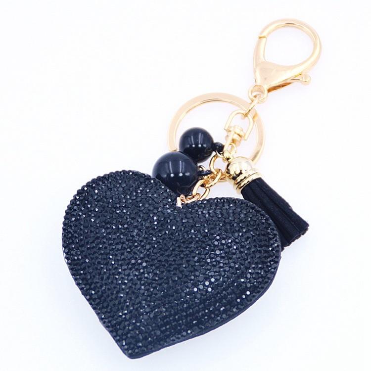 Black Heart Keyring (No Swarovski)