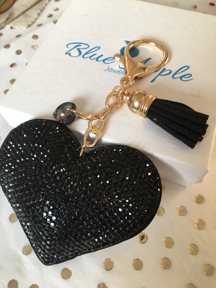 Black Heart Keyring with Swarovski Sparkle