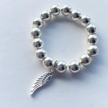 Sparkling Sterling Silver Feather Ring