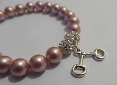 <!--009-->Swarovski Powder Pink Snaffle Bracelet