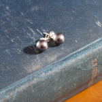 <!--009-->Swarovski Dark Grey Crystal Pearl Earrings