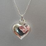 Pink Flutterby Heart Pendant