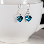 <!--001-->Bermuda Blue Sweet Heart Earrings